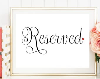 Reserved Sign, Reserved Wedding Sign, Wedding Reception Sign, Printed Wedding Sign