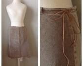 On HOLD for jessica.....Vintage 90s tan cord fringe skirt / boho / street fashion