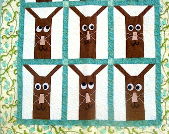 Baby Quilt with Funny Bunnies and Flowers