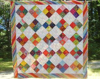 Baby Quilt with Kaffe Fassett Fabrics and Custom Quilting