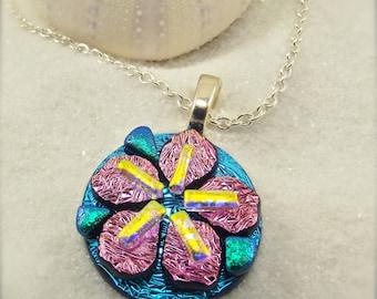 Sakura flower Jewelry, fused dichroic sakura pendant, dichroic pendant, dichroic jewelry, flower earrings, statement jewelry, statement