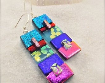 Bohemian earrings, dichroic earrings, dichroic, artistic jewelry, rainbow earrings, handmade, mod and hip, statement earrings, birthday gift
