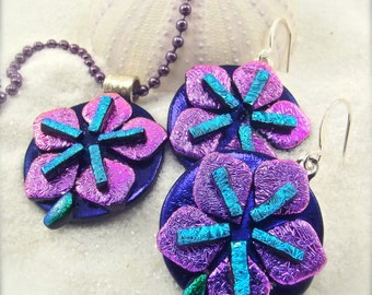 Sakura Jewelry, dichroic pendant, sakura flower jewelry, dichroic jewelry, statement jewelry, mod and hip, freshly picked, ooak, handmade