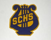 Vintage 1930s Varsity Band Letter Patch SCHS Blue Gold