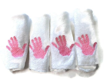 Embroidered 4 Baby Washcloths Set of 4 White Cloths with Pink Handprint - Ready to Ship