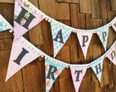 Pompom Trimmed Shabby Happy Birthday Bunting 2 Fabric Banners Event Decor Girl's Room Party Flags Pastel Pink & Blue White Pom Poms As Shown