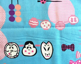 Japanese Fabric Blue Fabric  1 Yard  100% Cotton  110 x 100 cm With Geisha Hairpins Lanters Plum Blossoms And More  (F24-P31)