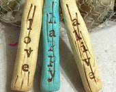 Handmade Polymer Clay Rustic Word Bead Sticks Set of 3