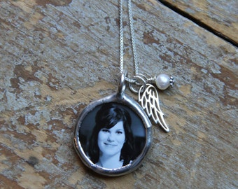 Angel Wing Custom Photo Necklace, Remembrance necklace, Loss of Loved One, Soldered Glass Photo Charm Necklace