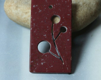 Red jasper carved pendant one piece (item ID RJCP3)
