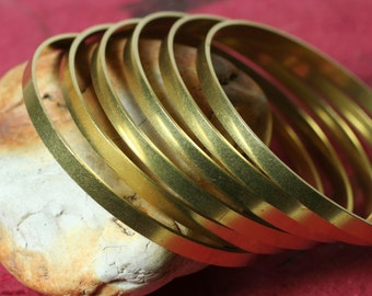 Solid brass stacking bangle bracelet blank, one piece (item ID RBB62)