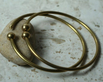 Solid brass screw on ball bangle bracelet fit large hole beads, one piece (item ID SW00190)