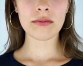 Sterling Silver Hoop earrings, 2 inch hoops, sterling silver hoops, thread of silver earrings, delicate hoop earrings, silver hoop