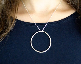 Irregular Silver Circle necklace, circle necklace, large circle pendant, organic circle necklace, hammered circle necklace