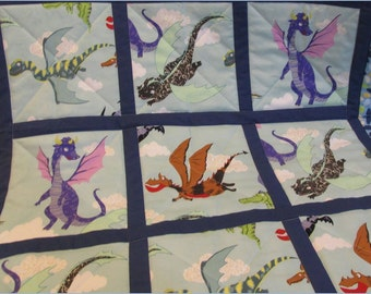 Dragon Baby Quilt  Medieval Fantasy in Seafoam, Green, Blue cotton and cotton-flannel handmade in PA for Baby Crib and Toddler Bed