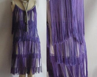 Vintage Flapper Shift Dress PURPLE FRINGE Stretch size 4 6 8 small Roaring 20s  Fringed 1960s GoGo Twist