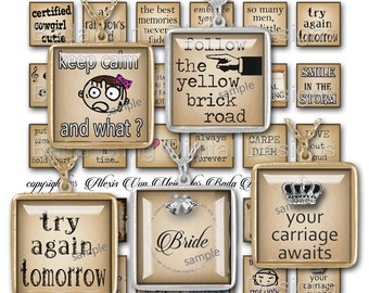inchies,  Make Me Smile,   INSTANT Digital Download at Checkout, collage sheets for jewelry, word pendants, funny quotes