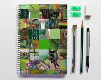Green Notebook Blank Sketchbook, Paper Writing Journal, White Pages, Handmade, One of a Kind, Back to School, Spiral, Cute, All Occasion