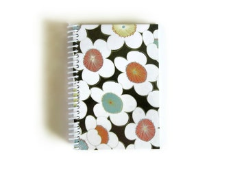 Flowers, Pocket Journal, Back to School, Brown Orange Aqua, White Blank Pages, School Gift, A6, Notebook, Diary Journal, Blank Notebook
