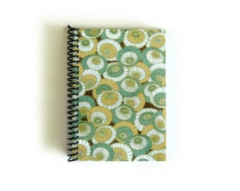 Rainy Day Spiral Bound Writing Journal, Mint Green Umbrellas Blank Notebook, Pocket Sketchbook, Back to School, Cute, Small, Gifts Under 20