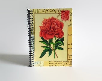 Red Peony Spiral Bound Writing Journal, Pocket Blank Journal Diary, Cute Garden A6 Paper Notebook Sketchbook, Back to School, Gifts Under 15
