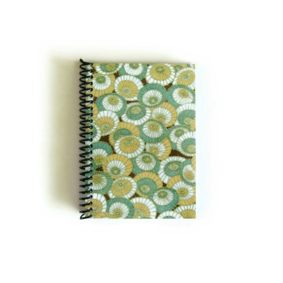 Rainy Day Spiral Bound Writing Journal, Mint Green Umbrellas Blank Notebook, Pocket Sketchbook, Back to School, Cute, Small, Gifts Under 15