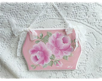 ROSE 5x7 Plaque Sign Shabby Chic Hand Painted Pink Roses ECS sct schteam SVFTeam
