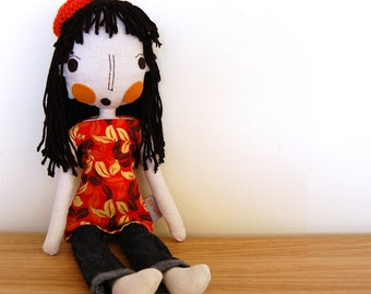 Rag Doll, Handmade Rag Doll, Girl Doll, Fabric Doll, Custom Doll, Custom Portrait Doll, Cloth Doll, Girlfriend Gift, Wedding Gift Idea