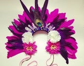 Feather Carnival Festival Head Dress Statement Head Piece Floral Crown Pheasant Feather