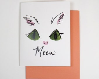 Kitty MEOW blank note greeting card