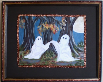 original Halloween painting decoration ghost spirits haunted woodland wall hanging art home decor framed limited print spooky shabby chic