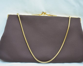 Evening Purse, Du Val Bag, Clutch Bag, Brown Purse, Clutch Purse, Purse, Bag, Du Val, 1960's Purse, Evening Bag