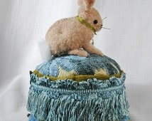 Pincushion: Little Fawn Victorian Bunny on a Vintage Style Tuffet, made from felted sweaters and antique trim