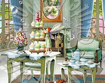 American Girl Doll Rebecca's Whimsical Teatime Background Scene american girl doll house accessories furniture