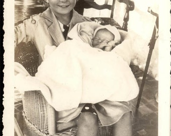 vintage photo 1930 Darling little Curly Hair Girl holds Baby Wicker Rocker