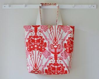 Roll Up Market Bag - Nouveau Bouquet in Red