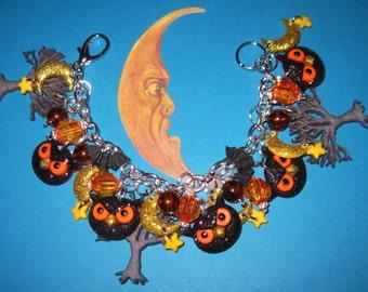 Halloween Charm Bracelet Owl Bat Tree Moon & Stars Halloween Jewelry Halloween Bracelet Spooky Cute Halloween Costume Accessory Black Orange