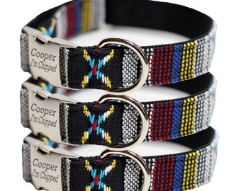 Engraved Dog Collar - Tribal, Navajo Dog Collar - Personalized Woven Yakima (Shown with optional Personalization)