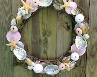 "18"" Abalone Starfish Urchin Pink Scallop Green Mussel Grapevine Wreath"