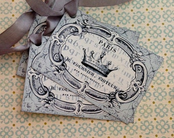 Crown Tags - French Crown Tags - Vintage Paris Tags - Paris Gray, All Occasion - Set of 4