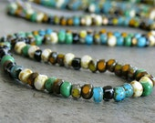 6/0 Turquoise Jade 3 Cut Czech Glass Picasso Seed Bead Mix : 10 inch Strand Three Cut Bead