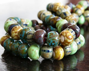 31/0 Aged Tribal Striped Picasso Czech Glass Seed Bead Mix : 6 Inch Strand Large Hole Seed Bead