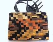 Vintage Tapersty Purse Colorful Bohemian Chic Shoulder Bag Chenille Carpet Bag