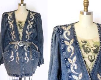 Vintage 90s Denim Jacket //  Studded Sequin Wash Denim Jacket Sz. L