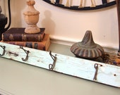 Vintage coat hanger rack made from old wood light green weathered and chippy