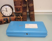 Metal Bankers Document Box with latch Logo Fidelity Union Life Lovely blue