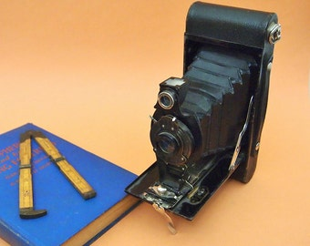 Free Shipping Vintage Kodak black 2A folding autographic Brownie Field Camera Collapsable  accordion
