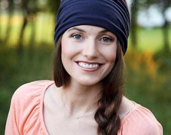 Extra Wide Headband, Thick Headband, Navy Blue Headband, Navy Blue Headwrap, Yoga Headband, Wide Hippie Headband, Adult Hair Wrap, Womens