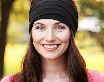Black Headband, Black Headwrap, Extra Wide Headwrap, Black Wide Headband, Wide Black Headband, Black Head Band, Solid Color, Head Wrap Women