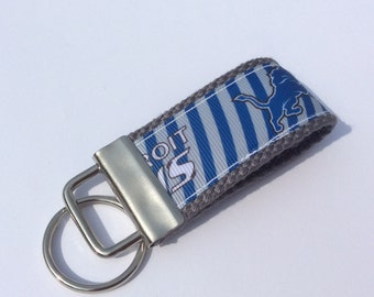 DETROIT LIONS  Mini Key Fob    ribbon / fabric on heavy cotton webbing  Buy 3 Get 1 Free